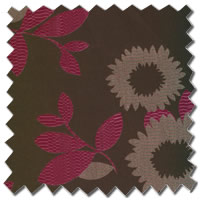 Artistic Flowers & Leafs Embossed Taupe & Fuchsia Pink Roman Blinds