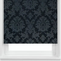 Luxury Shimmering Silver & Black Damask Patterned Roller Blinds