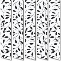 Black & White Leaf Patterned Vertical Blinds, Contemporary Fabric