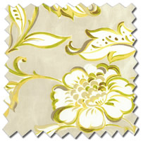 Classical Flowers Patterned Beige, Lime Green & Yellow Roman Blinds