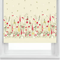 Country Garden Patterned Roller Blinds, Cream, White, Red & Yellow