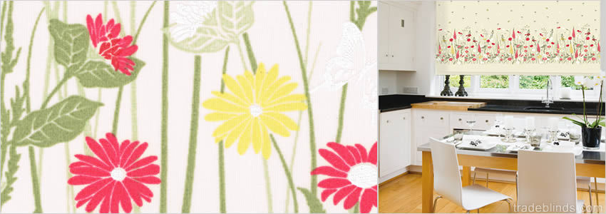 Wild Meadow Yellow Roller Blinds - Wide