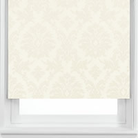 Luxury Shimmering White & Silvery Cream Damask Patterned Roller Blinds