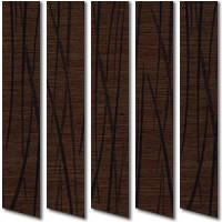 Dark Hazelnut Chocolate Brown Exotic Grass Patterned Vertical Blinds