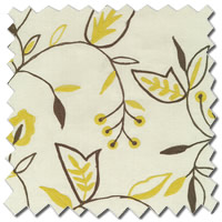 Contemporary Roman Blinds| White, Brown, Yellow Embroidered Flowers