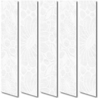 Stunning Floral Lace White Vertical Blinds, Flowery Embossed Fabric