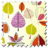 Funky Multi-Coloured Roman Blinds, Apple & Leaf Patterned Fabric