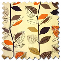 Autumn Leaves Amber Orange Yellow Curtains