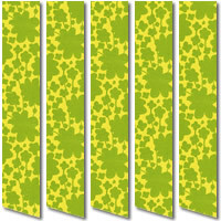 Glamorous Sage & Lime Green Funky Flowers Patterned Vertical Blinds