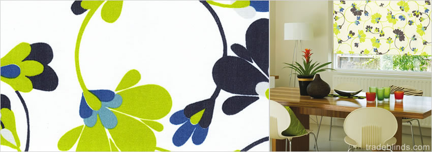 Flowers Boutique Blue Roller Blinds - Wide