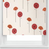 Orange & Red Poppy Patterned Roller Blinds, Made to Measure