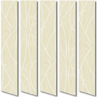 Patterned Creamy Yellow Vertical Blinds, Luxury Swirling Texture