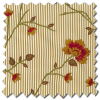 Luxury Curtains, Pinstripes & Flowers Beige, Red & Gold Curtains