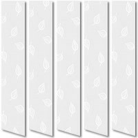 Pretty White Leafs Vertical Blinds, Beautiful Patterned Louver Fabric