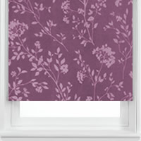Shimmering White Gold & Purple Floral Leaves Patterned Roller Blinds
