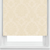Designer Retro Golden Beige & Cream Damask Patterned Roller Blinds