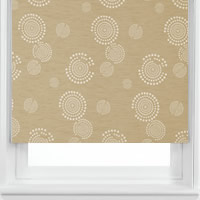 Contemporary Shimmering Beige Circle Patterned Blackout Blinds