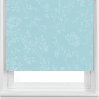 Luxury Shimmering Silver & Duck Egg Floral Patterned Roller Blinds