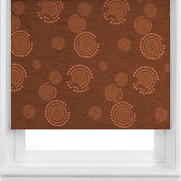 Shimmering Vibrant Copper Circle Patterned Blackout Roller Blinds