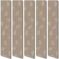White Leafs & Light Brown Vertical Blinds, Very Pretty Leafy Fabric
