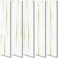 Stunning White & Metallic Lime Green Patterned Vertical Blinds