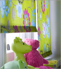 Green Flowers Roller Blind