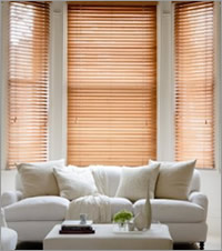 Wood Blinds in a Bay Window